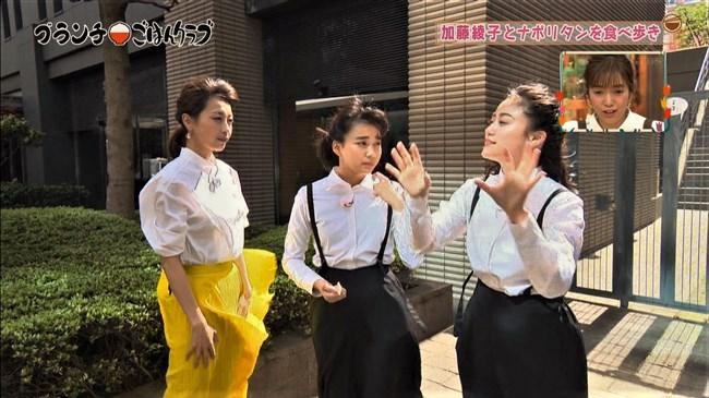 加藤綾子~王様のブランチにて薄手の黄色スカートが風で太ももにピッタリのエロ姿!0006shikogin