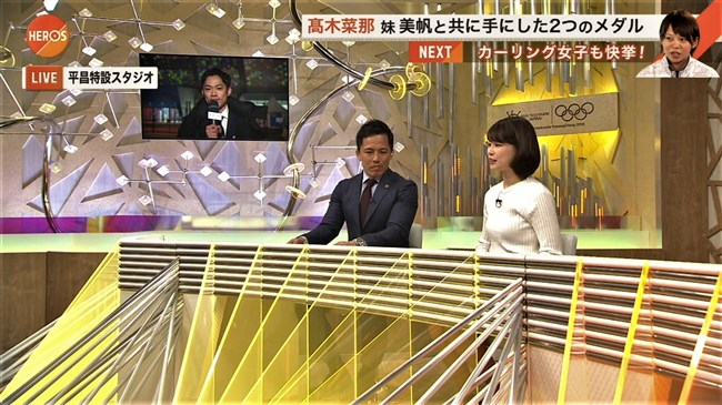 鈴木唯~オリンピック中継でのニット服オッパイの膨らみがエロ可愛い!0006shikogin