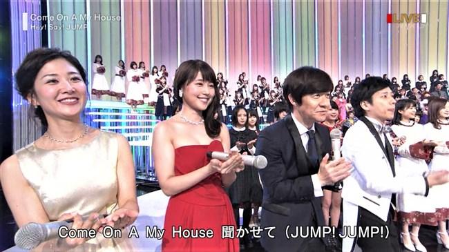 桑子真帆~NHK紅白歌合戦でのムッチリ腕で胸の膨らみがエロいノースリーブ姿が最高!0004shikogin