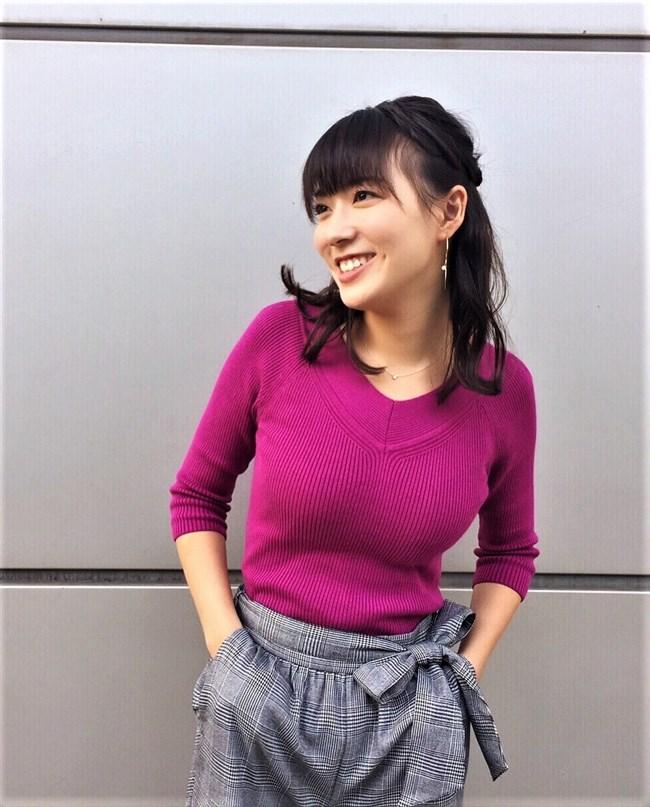 阿部華也子~パープルのニット服で胸元を強調したグラビアが超エロくて興奮!0004shikogin