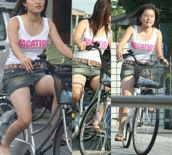 ミニスカ女子がチャリに乗ると必ずこうなるwwwww0039shikogin