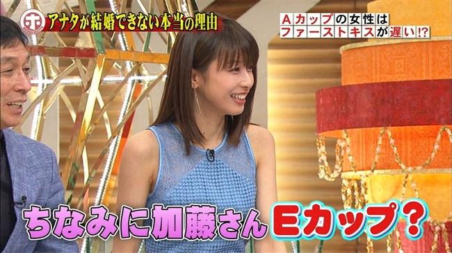 加藤綾子~ホンマでっかTVで巨乳をノースリーブでアピールしEカップを公表!0005shikogin