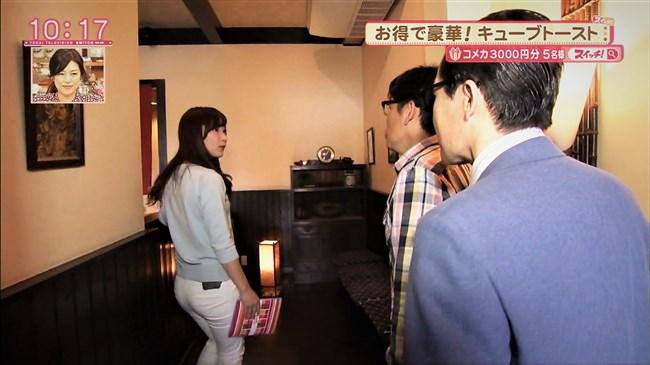 速水里彩~東海テレビの美人アナが白パン姿でパン線丸見えで熱いレポート!0007shikogin