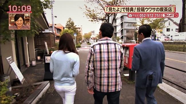 速水里彩~東海テレビの美人アナが白パン姿でパン線丸見えで熱いレポート!0012shikogin