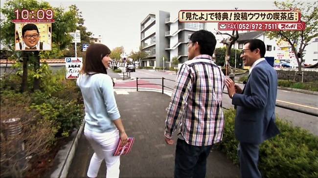 速水里彩~東海テレビの美人アナが白パン姿でパン線丸見えで熱いレポート!0014shikogin