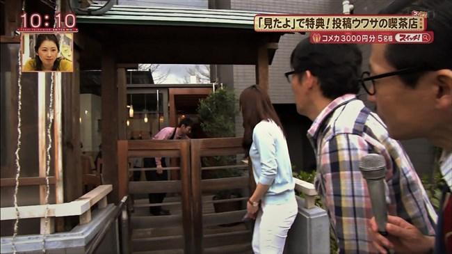 速水里彩~東海テレビの美人アナが白パン姿でパン線丸見えで熱いレポート!0016shikogin