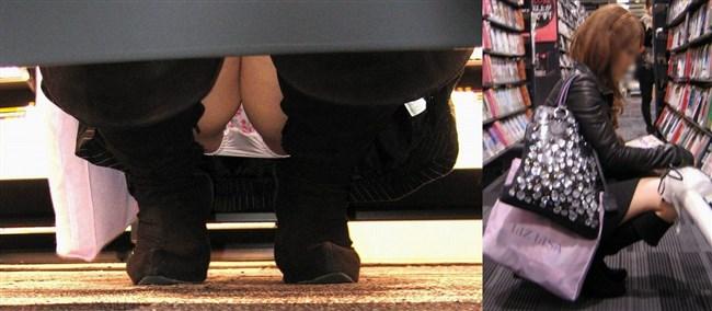 スカート女子が店内の棚に向かって油断してしゃがむ姿を正面から盗撮www0001shikogin