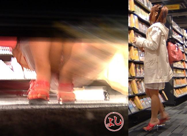 スカート女子が店内の棚に向かって油断してしゃがむ姿を正面から盗撮www0003shikogin