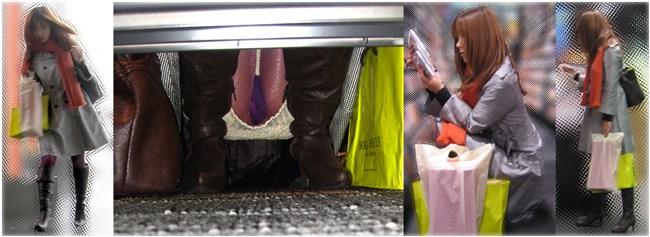 スカート女子が店内の棚に向かって油断してしゃがむ姿を正面から盗撮www0008shikogin