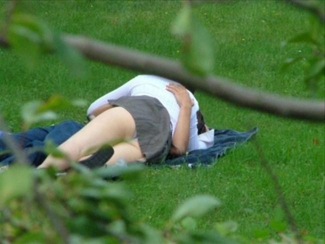 公園の芝生に寝そべってる女子、下半身の具が見えそうwww0008shikogin