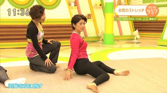 青山祐子~美熟女NHK局アナがピッタリ服で胸元と股間を強調させエロ体操を!0007shikogin
