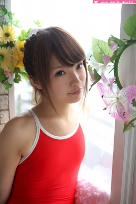 Aimi Sato School swimsuit gravure Red arena006