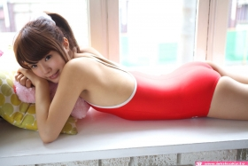 Aimi Sato School swimsuit gravure Red arena016