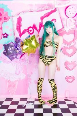 Moka Fukuda cosplay swimsuit bikini gravure Urusei Yatsura Ram 2021045
