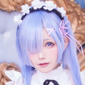 White Swimsuit Bikini Maid Suit Rem: A Different World Starting from Re Zero Cosplay025
