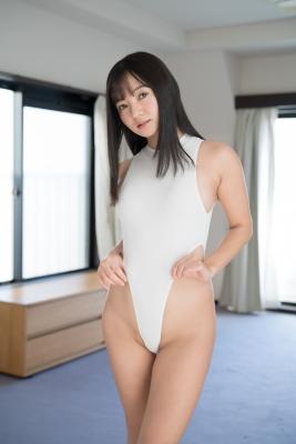 Ayana Nishinaga High Leg White Leotard Swimsuit Swimming Race Swimsuit School Swimsuit003