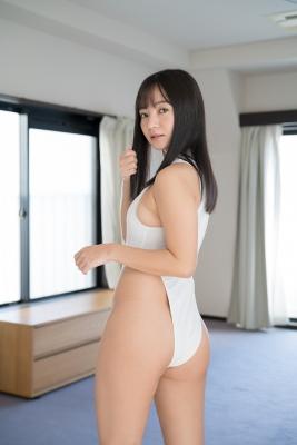 Ayana Nishinaga High Leg White Leotard Swimsuit Swimming Race Swimsuit School Swimsuit005