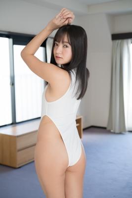 Ayana Nishinaga High Leg White Leotard Swimsuit Swimming Race Swimsuit School Swimsuit009