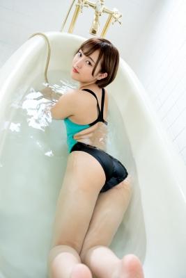 Anju Kouzuki Swimming Race Swimsuit Image arena arena Green Black Vol2012