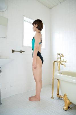 Anju Kouzuki Swimming Race Swimsuit Image arena arena Green Black Vol2030