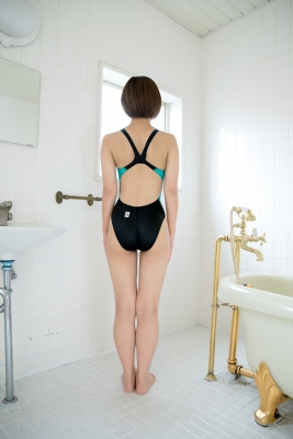 Anju Kouzuki Swimming Race Swimsuit Image arena arena Green Black Vol2032