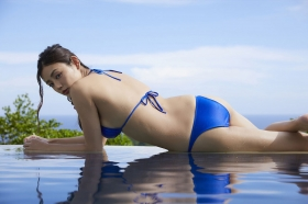 Moemi Katayama swimsuit bikini gravure in blue bikini007