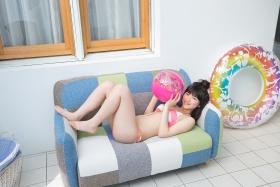 Risa Sawamura swimsuit gravure Pink and white bikini012