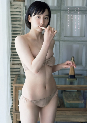 Kaoru Higashide swimsuit bikini gravure Maiden with short black hair 19 years old charm 2021005