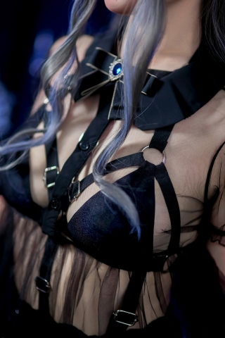 Black Lingerie Ohkamikko Cosplay011
