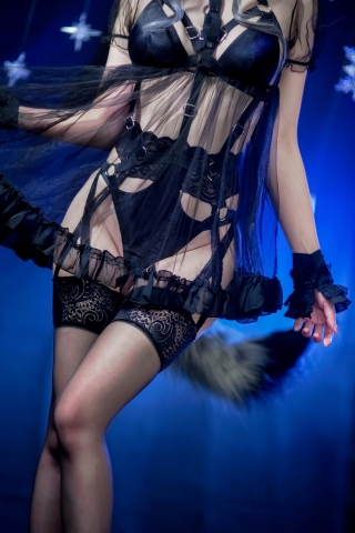 Black Lingerie Ohkamikko Cosplay012