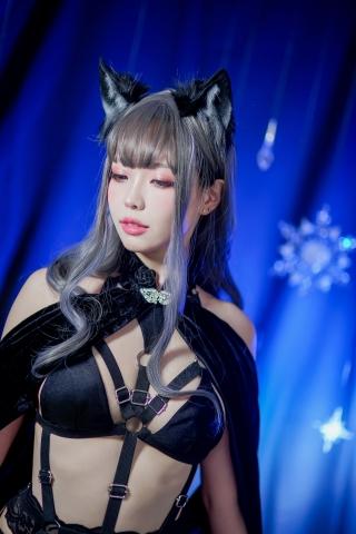 Black Lingerie Ohkamikko Cosplay027