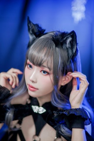 Black Lingerie Ohkamikko Cosplay028