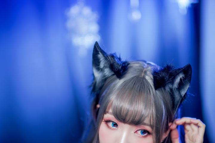Black Lingerie Ohkamikko Cosplay029