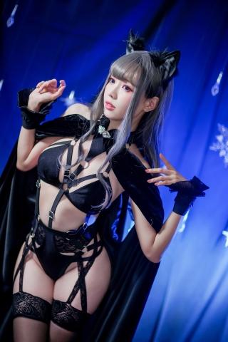 Black Lingerie Ohkamikko Cosplay037