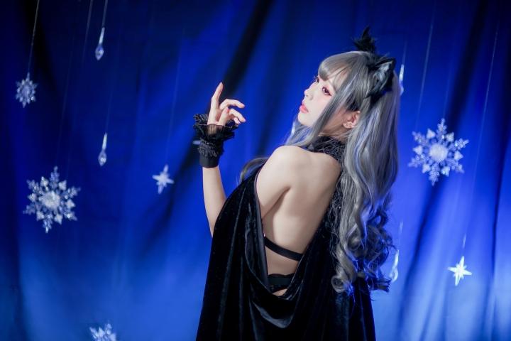 Black Lingerie Ohkamikko Cosplay041