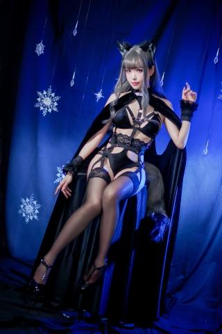 Black Lingerie Ohkamikko Cosplay046
