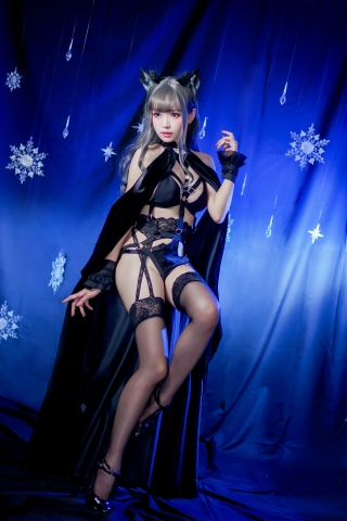 Black Lingerie Ohkamikko Cosplay048