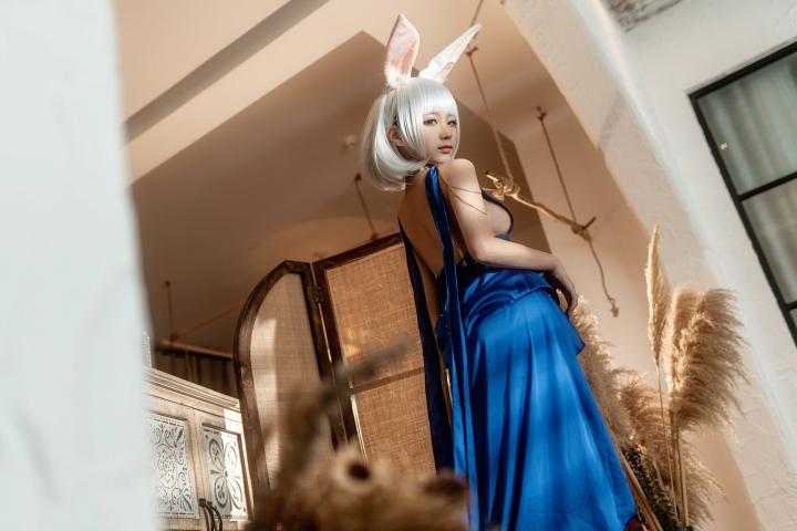 Blue Dress Azure Lane Kaga White Skimpy Lingerie011