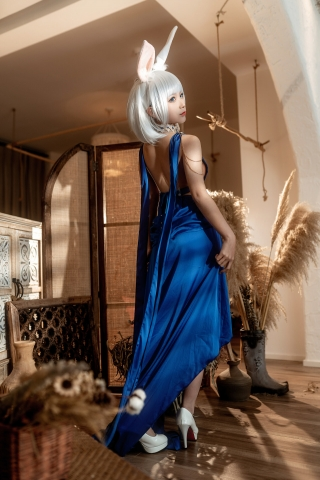 Blue Dress Azure Lane Kaga White Skimpy Lingerie012