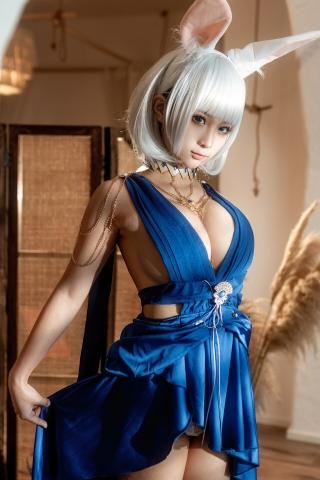Blue Dress Azure Lane Kaga White Skimpy Lingerie013