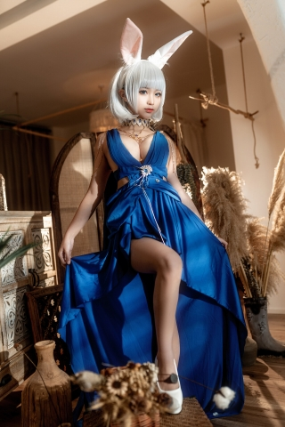 Blue Dress Azure Lane Kaga White Skimpy Lingerie015