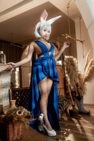 Blue Dress Azure Lane Kaga White Skimpy Lingerie014