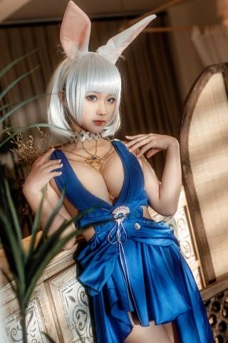 Blue Dress Azure Lane Kaga White Skimpy Lingerie018
