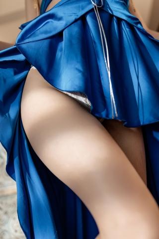 Blue Dress Azure Lane Kaga White Skimpy Lingerie023