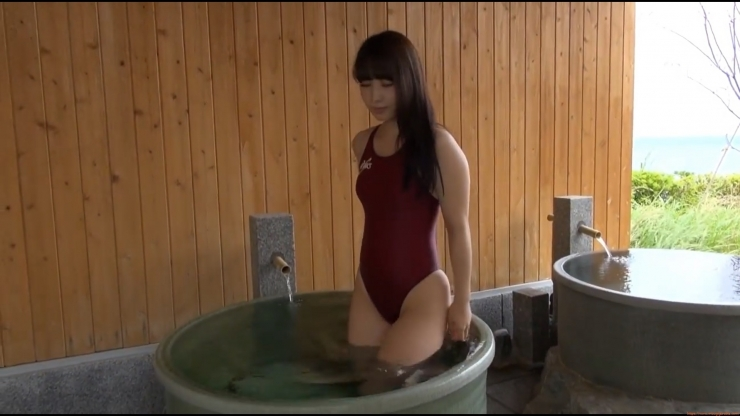 Beautiful girls tight swimming suit hot spring042
