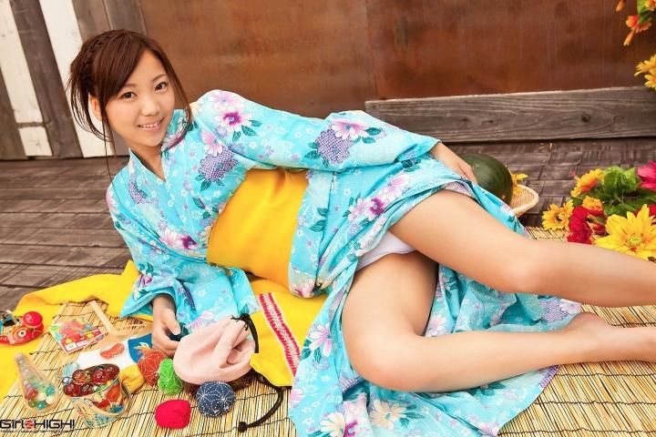 Fuka Nishihama Yukata undressing white swimsuit bikini005