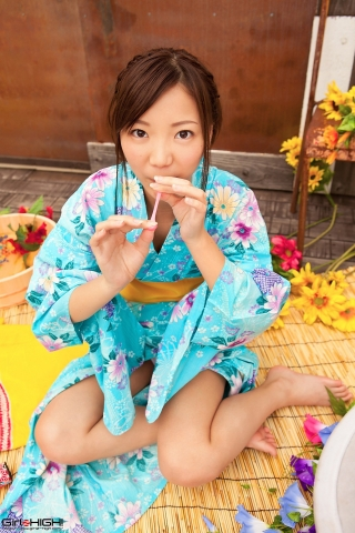 Fuka Nishihama Yukata undressing white swimsuit bikini008