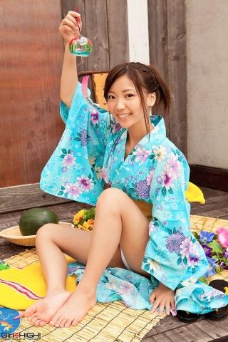 Fuka Nishihama Yukata undressing white swimsuit bikini011