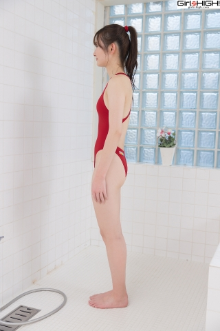 Asami Kondo Red Swimming Race Swimsuit Images003