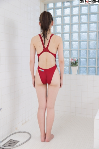 Asami Kondo Red Swimming Race Swimsuit Images005